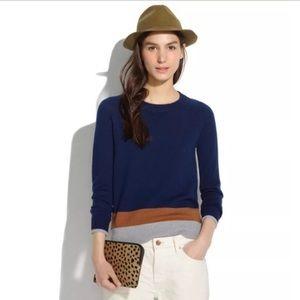 Madewell | Blue Colorblock Wool Crewneck Sweater